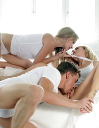 When Angel Piaff walks in on Bella Baby and her man in a passionate embrace she decides to join them for a hot threesome