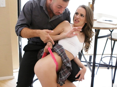 Kimmy Granger is on her phone all the time and her stepdad Chad White is sick of being ignored. He asks her to accept a package for a big client of his. When she still refuses to put the phone down, he pulls up her miniskirt and spanks her thong covered ass. Then he gets her on her knees until she opens her mouth and sucks him off in a deep throat BJ that only ends when she swallows his cum shot.Later, Kimmy misses the courier and Chad decides that she needs to be punished again. He puts a shock collar on her to try to train her to stop touching her phone. Determined to teach Kimmy respect, Chad peels off her clothes and slams into her from behind in a doggy style pussy pounding.Loving how wet and tight Kimmy is, Chad pulls her into his lap so that she can ride him reverse cowgirl style. Then he gets her on her back so he can spoon with her and keep pile driving her cum hungry twat until she screams her orgasm. Once she gets off, he continues to fuck her until he is ready to explode as well. He pulls out at the last moment, covering her tits and belly in a shower of hot jizz.