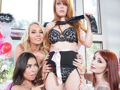 Sexy Penny Pax fucked with strap-ons by her lesbian friends.