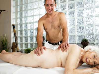 Hot and sexy massage to granny Norma by young Rob!