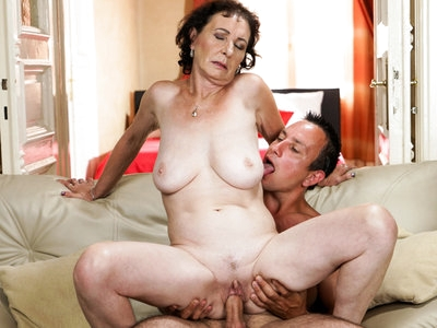 Lusty granny Pixie takes a young cock so hard!