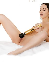 Naughty Lilu is feeling horny using her vibrator until Raul comes in. She grabs his hard cock and sucks on it. Then Raul puts his throbbing hard cock deep in Lilu's tight ass as she moans in pleasure. Lilu takes every inch of his cock before getting an explosion of cum all over her body.