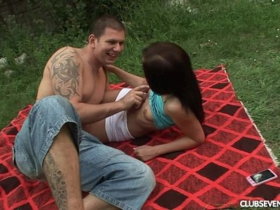 Teen Nomi suck and ride cock outdoors