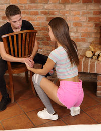 Hardcore cuckold sex when a miserable boyfriend watches how his hot girlfriend is fucked by a luckier man. Her boyfriend just watches like his girl sucks a boner. He is bonded and humiliated. Meanwhile, the girl rides the fat cock wearing only stockings. She moans when the fat cock bangs her wet hole. The luckier guy comes right on her flat stomach right in front of her boyfriend's sad eyes.