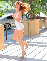 Melody is one of those super-healthy, enthusiastic supercute girls who ends up charming everyone at FTV. She brings positive energy to the shoot with smiles, laugher and the desire to sexually express herself. A dance major and ballerina, she is experiencing this as her very first shoot in the adult business. We spot her at a upscale fashion mall, wearing a very tight white dress < heels, showing off that super toned athletic figure. She flashes for us, giving us upskirt peeks, and after a while goes all out in public nudity, right out there in the open! Taking her clothes off, we notice how beautiful her figure is, and how flexible she is with those high kicks! She ends up masturbating with her fingers, and has a nice natural orgasm with visible vaginal contractions. Then she teases us some more as she joins up with a yoga group, showing off how fun she can be. Back home she masturbates with the Eroscillator toy, and has a very strong orgasm that makes her vagina move like crazy! Out at the gym, she's not shy about flashing her breasts < butt, and gets serious about showing off her pilates workout. Later that night, we go see a movie, and she teases us some more while people watch... On the 2nd day, we see her in a beautiful white seethrough dress at a resort, walking barefoot. It turns into a foot fetish scene as she washes her pretty feet in the water fountain. Finding a large cucumber she stuffs it as deep as it can go, and rides it... then she shows off her grace and dance poses at a beautiful archway while naked. On a dare, we have her run naked on the street, watching that firm body move! Time for some anal play, as she takes a beaded toy and pushes it as deep as it can go, and viewing up close how she moves it in and out of her butt. As a real ballerina, she brought her ballet shoes, and stretches/dances for us to ballet music. Such form and beauty in the nude! Warming herself up with the Vibraking, she then give us extreme closeups of her wet vagina (with labia stretching) and then rides the FTV monster toy, deep! She even does the splits on it. Pounding herself hard and fast, we see that she's actually enjoying the rough sex with this huge dildo! On the 3rd day, we watch her stretch bedside, then give herself a breast < butt massage, with some anal fingering and more closeups of her pretty private parts. She finger masturbates to another nice natural orgasm in the bathroom. Out in her favorite bikini, she toys with her labia, then uses her supercute pink heels like a toy, masturbating and penetrating herself with the shoe heel (then showing off the flexibility by sucking on her toes). Putting on a classy black dress < heels, she teases us with peeks as she plays chess (she knows how!). For the big finale, she masturbates with the Vibraking to two squirting orgasms and then rides the FTV Monster toy deeper and harder to a hard pounding session. This girl is truly an amazing gem for FTV, and enjoy this adventure shoot of all her very first time adult experiences on camera!