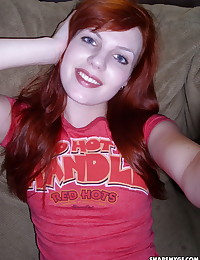 Redhead girlfriend takes selfshot pictures for her boyfriend who shares them with us