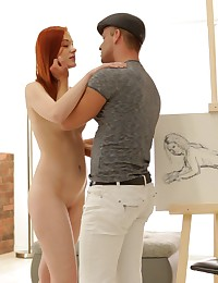Lusty redhead Amber Cute demonstrates how to take a rock hard cock deep in juicy pussy and her tight little ass hole