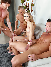 Rachel takes on 3 cocks in her first gangbang