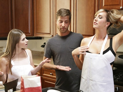 Alice March is helping her stepmom Brett Rossi as they bake cookies together while Dylan Snow watches. After declaring how hot it is in there, Brett peels her dress down to show off her full boobs and then helps Alice to slide her shirt down, too. Then she helps Brett out of his shirt.It's not long before Brett has gotten both Dylan and Alice out of their clothes to join her in partial nudity. She offers to show Alice how to suck a dick with Dylan as the model, and finds both her stepdaughter and her boyfriend willing students. Soon both Brett and Alice are working their mouths all over Dylan's dick, followed by a reversed lesson where Brett teaches Dylan how to feast on Alice's sweet twat. Once the two young lovers have mastered oral sex, Brett goes on to teach them all about as many hardcore positions as she can. The threesome gets hot and horny as Brett demonstrates how to use the terrain of the kitchen to their advantage so that they can try a variety of positions that leave both girls satisfied and bring Brett to a climax that he aims all over Alice's twat.