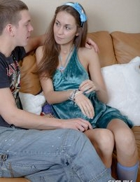 Seductive brunette Slovak teen babe June gives fellatio and gets anally nailed doggie